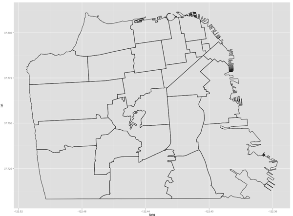 R: ggmap - Overlay shapefile with filled polygon of regions